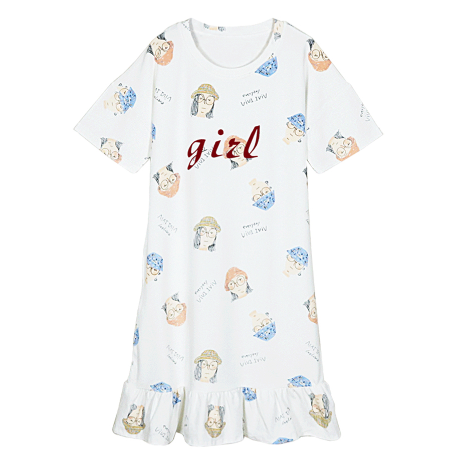 New Summer Sweet 4 Colors Sleepwear Dress Women Cute Cartoon Print Ruffles Mini Dress O-neck Short Sleeve   Nightgowns     Sleepshirts