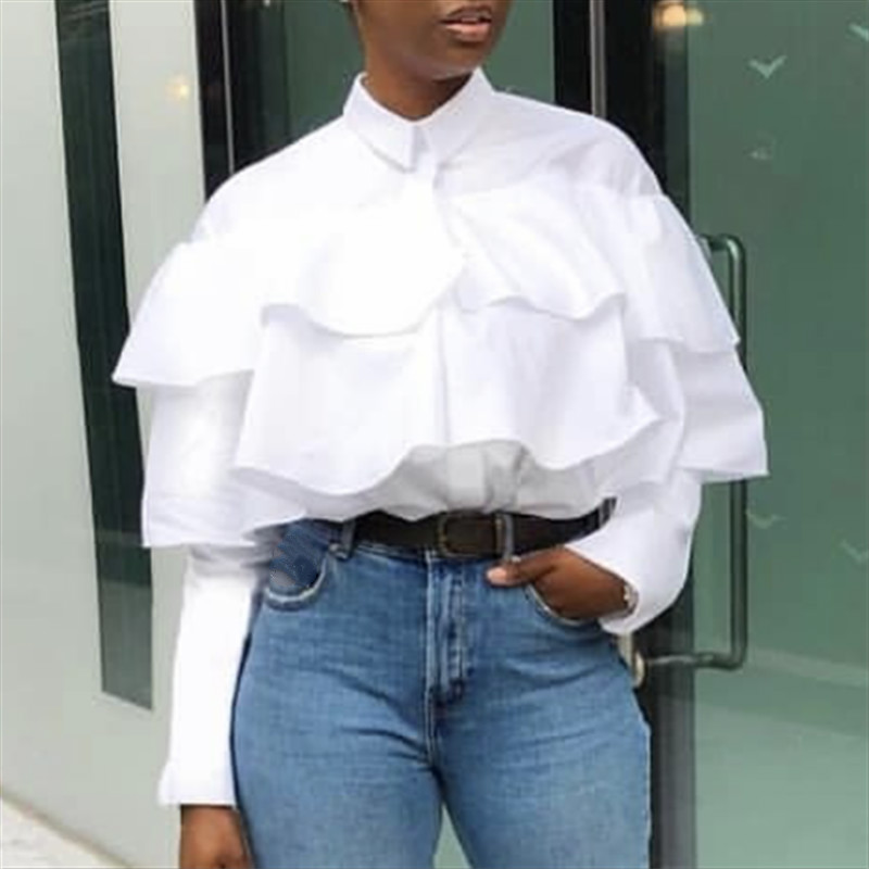 Women White   Blouses     Shirts   Casual Ruffes Button Up Long Sleeves Loose Elegant Summer Ladies Fashion Famale Solid New Blusas 2019