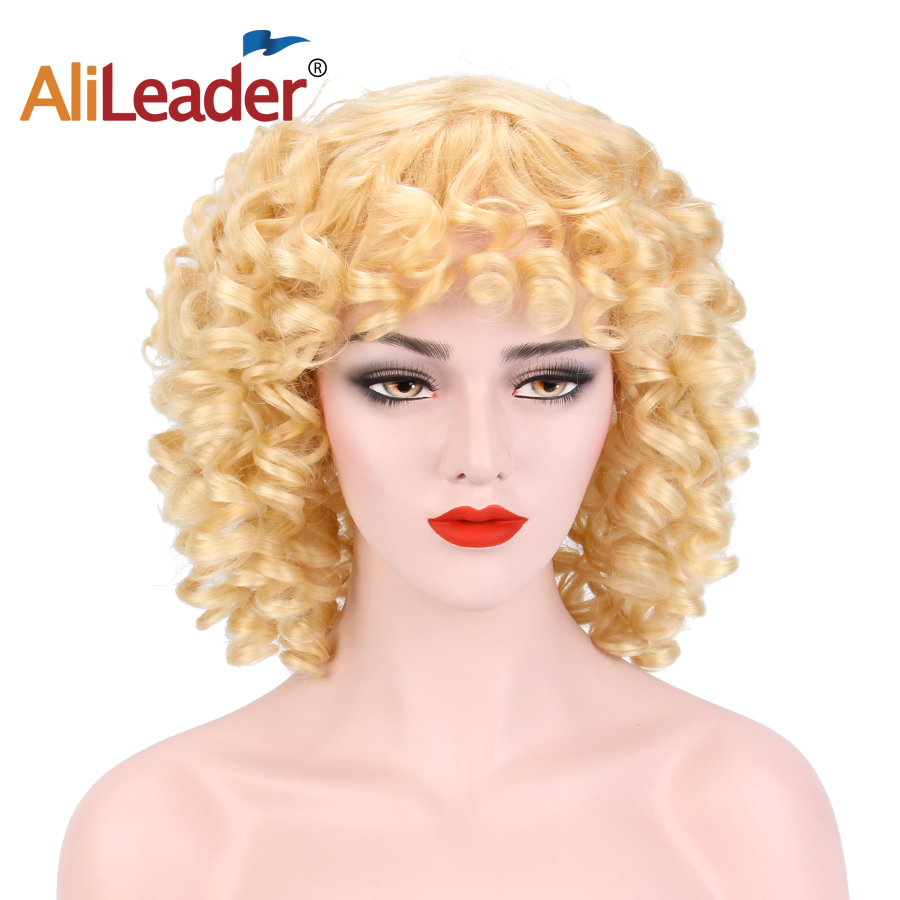 Alileader Medium Long Afro Wig Synthetic Wig For Women With Baby Hair Wig With Black Red Blond Kinky Curl Wigs Cosplay