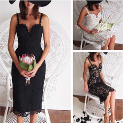 2018 Fashion Designer White/ Black Party dress Women Sexy Sleeveless Lace Crochet Hollow Out Slim Spaghetti Strap Bodycon Dress 2