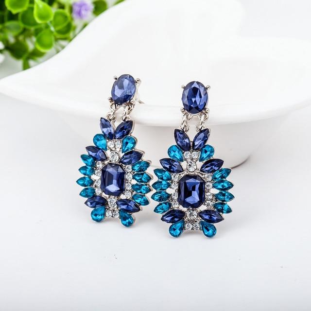 Blue Crystal Drop Earrings Women Long Eardrop Hollow Flower Silver Color Dangle Earring Rhinestone Jewelry