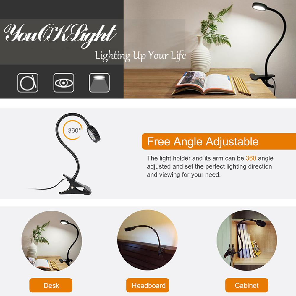 LumiParty 3 LED Clip Night Light Table Lamp With Flexible Goose Neck Cute Bed Lamp Decoration Eye Protection Night Light