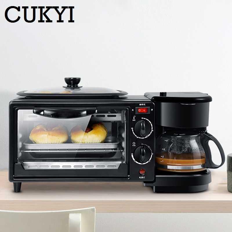 CUKYI 3 в 1 электрическая машина для завтрака многофункциональная Кофеварка сковорода Мини Бытовая духовка для хлеба и пиццы сковорода