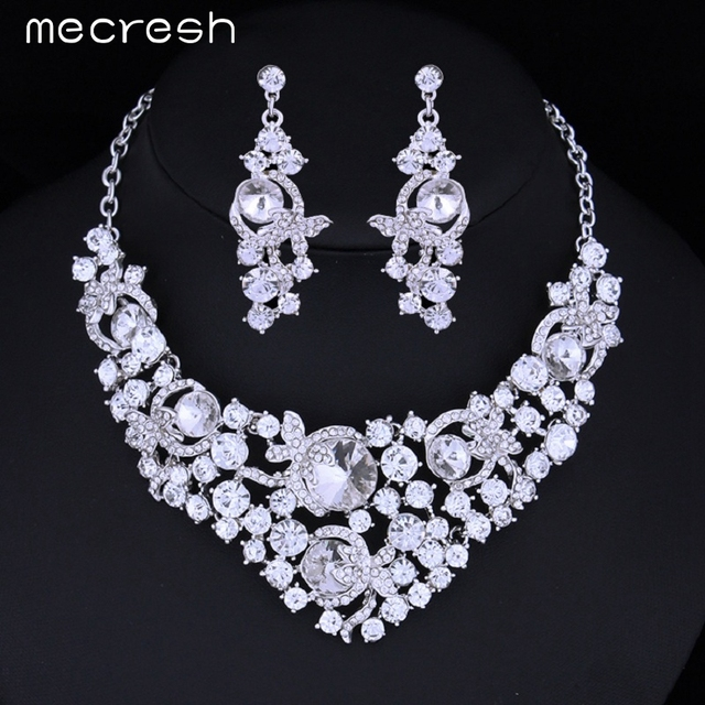 Mecresh Luxurious Glass Crystal Imitated Gemstone Wedding Jewelry Sets African Jewelry Set Choker Necklace Earrings TL082