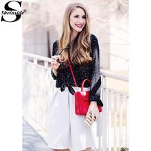Sheinside Для женщин Рубашки для мальчиков распродажа модной одежды осенние корейские женские Костюмы с лацканами Пуговицы с длинным рукавом Свободная блузка
