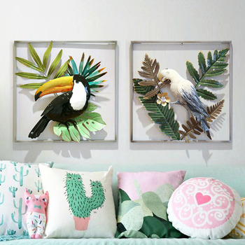 Modern Wrought Iron Plant Wall Decoration Parrots Wall Hanging Birds Crafts Home Livingroom Wall Mural ornaments Accessories