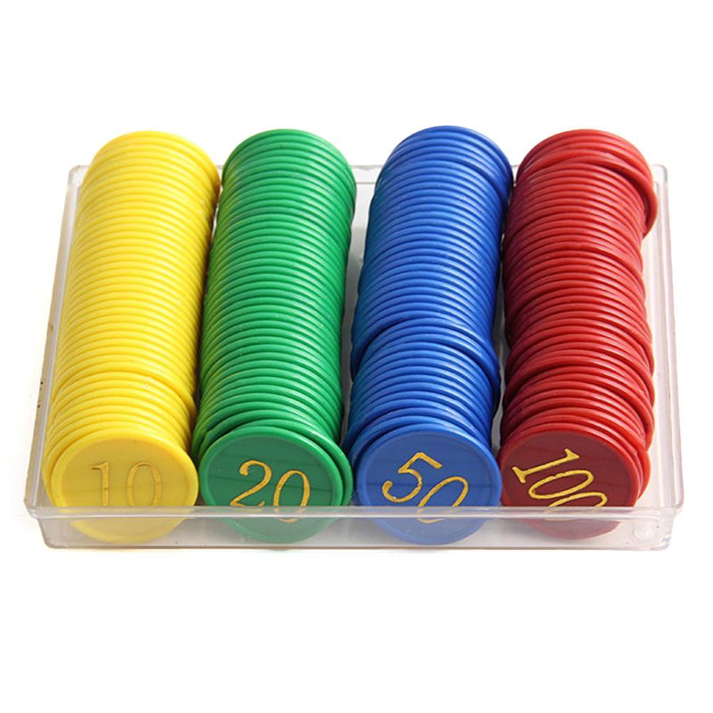 160 Comprimidos Em Caixa Chips De Plástico Dupla-face Bronzeamento Com Digital Chips De Chips De Plástico Token Jogo Gaming Suprimentos