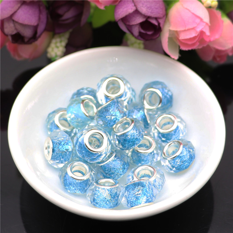 10pcs Cut Faceted Crystal Charms Powder Glitter in Glass Beads Fit For European Pandora Bracelet Chain Necklaces Jewelry Making