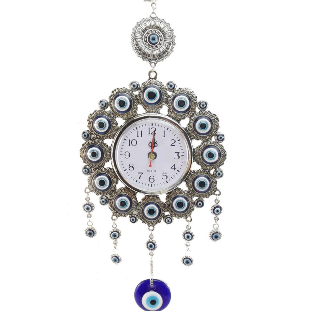 33 Cm Turkish Elephont Evil Eye Clock Watch Wall Hanging Pendant Amulet Nazar Watch Home Decoration Office Protector Ornament
