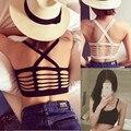 Feminina estilo primavera verano 2016 nueva corea moda mujeres back hollow out de punto de cruz pequeño negro blanco chaleco femenino A0867