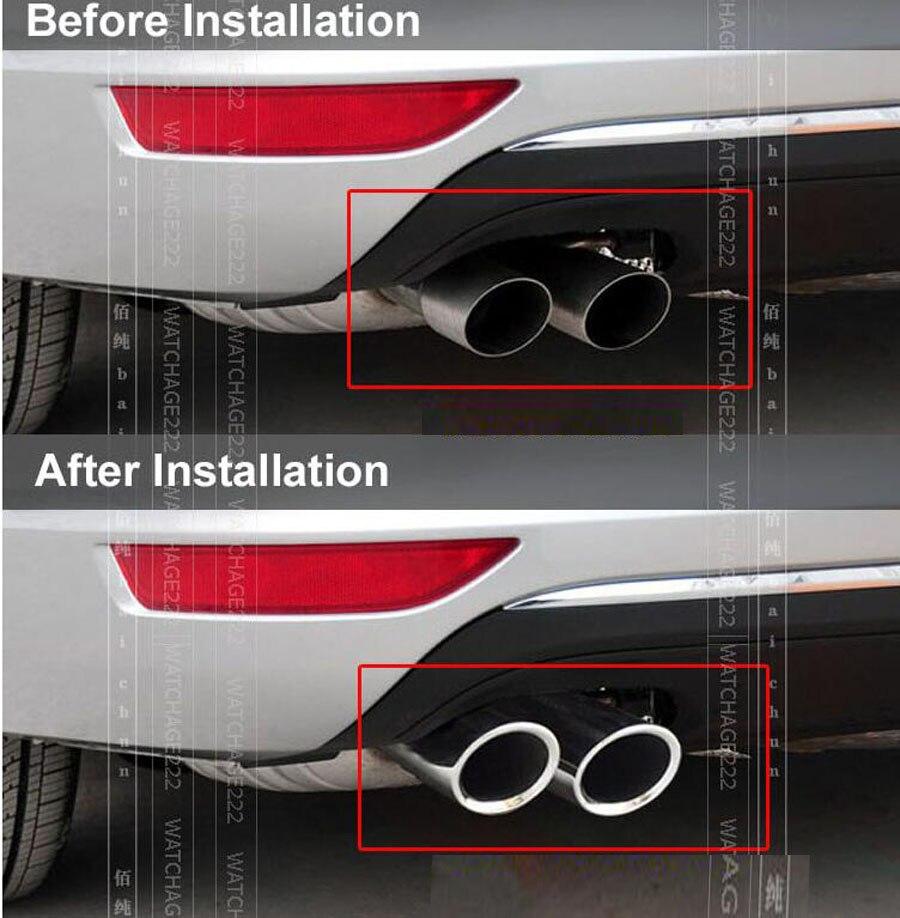 2X Exhaust Tips fit Passat B7 CC Tiguan Car Stainless Steel Rear Muffler Pipe