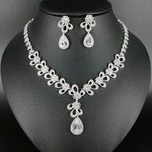 New fashion luxury elegant crystal water drop zircon necklace earring set,wedding bride banquet formal jewelry free shipping!