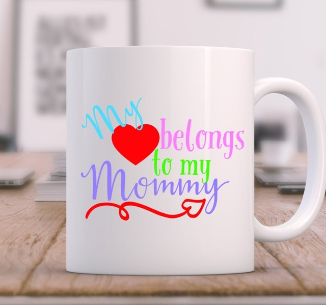My Heart Belongs To My Mom Mugs Beer Travel Milk Cup Porcelain