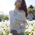 Женщины Связать Пуловеры Сексуальные босоножки Подробно На Декольте Ребристые Отделкой Уютные Свитера