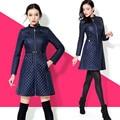 Mulheres casaco de inverno 2017 Da Moda xadrez fino de algodão-acolchoado jaqueta fêmea magro ocasional casaco de inverno outono Frete Grátis