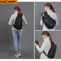 K&F Concept Sling Messenger Backpack Big Capacity Camera bag with Rain Cover For Canon Nikon Sony Camera bag With Rain Cover