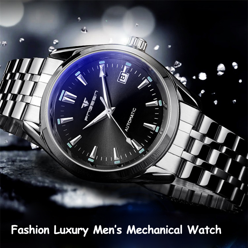 Wristwatch For Men Steel Luminous Waterproof Saats Tourbillon Self Wind Mechanical Watches