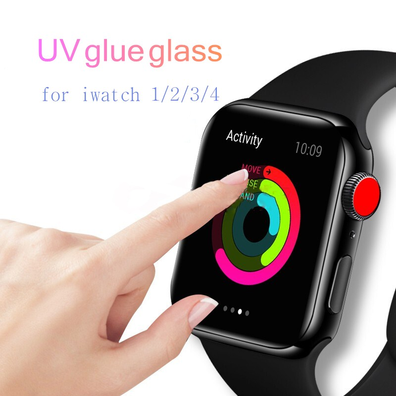 Nano Liquid Full Glue UV Glass For Apple Watch 38m 42mm 40mm 44mm Screen Protector For I Watch 4 3 2 1Series Tempered Glass Film