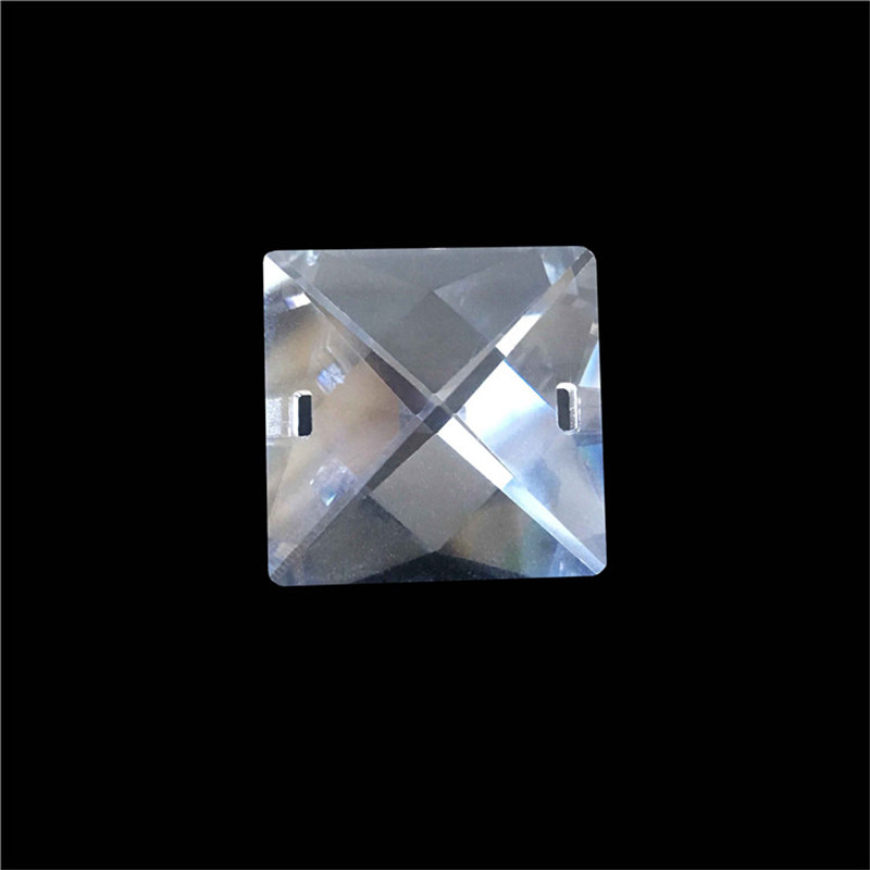 15pcs/lot 30mm Crystal Glass Square Beads With Oval Holes