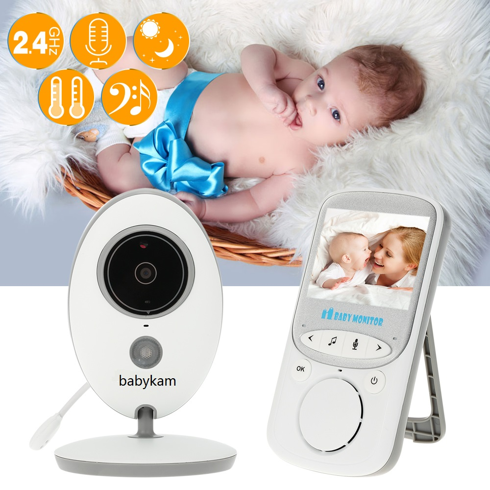 babykam babyfoon camera baby monitor 2.4 inch LCD IR Night Vision 2 way talk Temperature monitor Lullabies baby camera babyphone