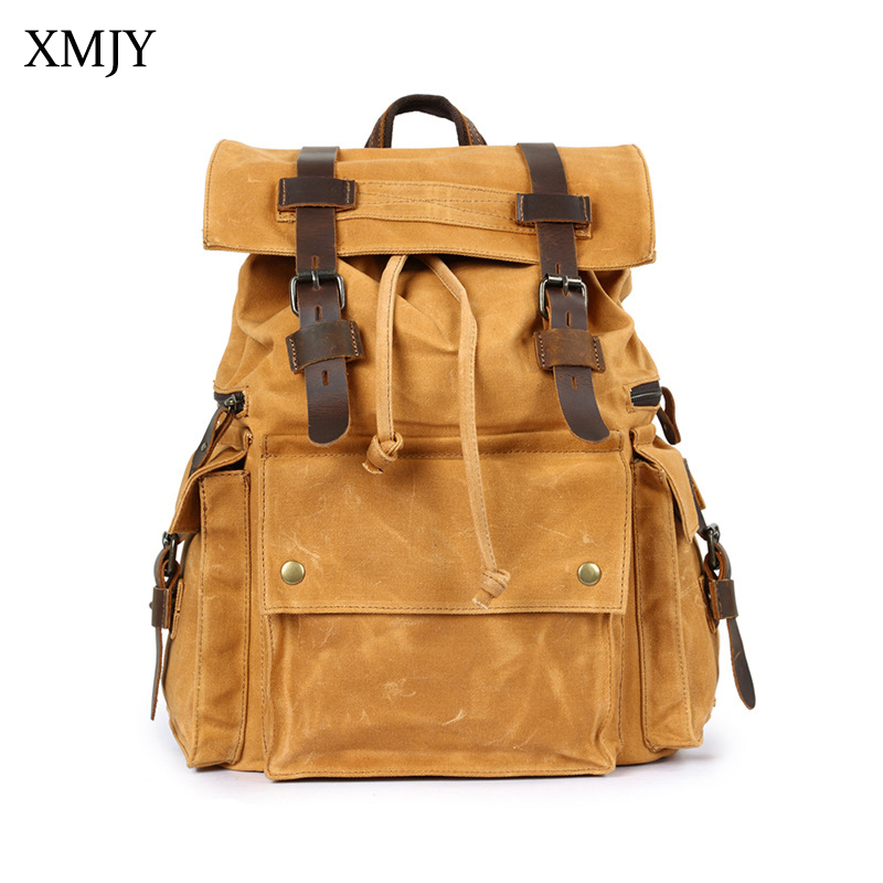 XMJY Oil Wax Canvas Backpacks Men Crazy Horse Leather Stitching Carry On Waterproof Travel Bag Vintage Casual School Bag Pack japanese pouch small hand carry green canvas heat preservation lunch box bag for men and women shopping mama bag