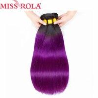الآنسة رولا مسبقا الملونة أومبير البرازيلي مستقيم الشعر حزم موجة # 1b الأرجواني الشعر غير ريمي نسج الإنسان الشعر التمديد