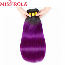 Miss Rola Hair Pre Colored Ombre Brazilian Straight hair Bundles Wave T1B Purple Hair Non Remy