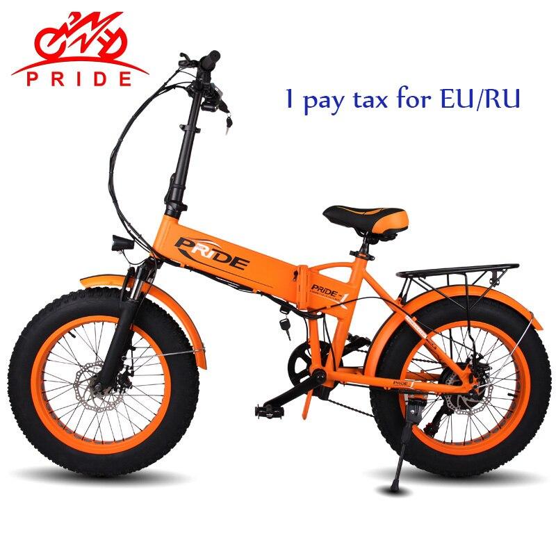 PRIDE 20 дюймовый Электрический велосипед 48V12. 5A литиевая батарея электрический жир шина велосипед Алюминиевый Складной 350 Вт мотор электричес...