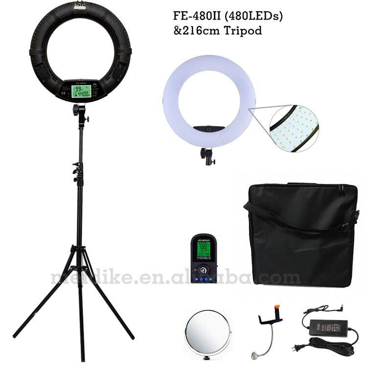 LED リングランプ FE 480II 2 色調整リングライト 480 LED ビデオ化粧ランプ写真放送ライト + 2 メートルスタンド + ソフトケース -