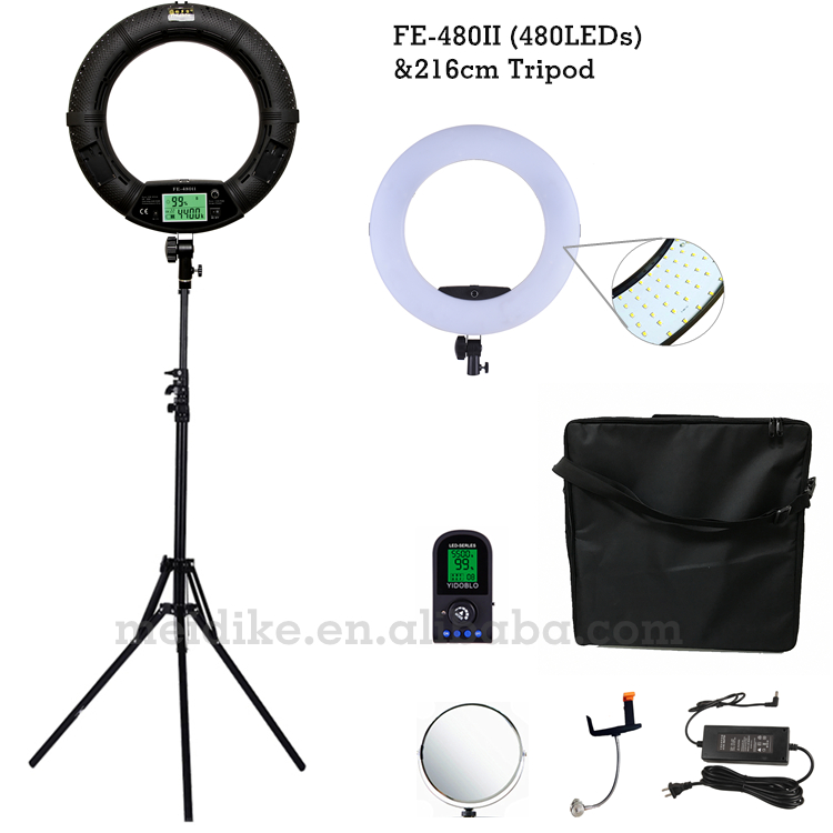 Yidoblo Black FE 480II Two color Adjust Ring Light 480 LED Video Makeup Lamp Photographic broadcast