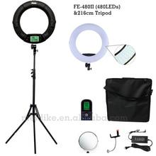 Yidoblo Noir FE-480II Deux couleur Ajuster Anneau Lumière 480 LED Vidéo Maquillage Lampe Photographique diffusion Lumière + 2 M stand + étui souple