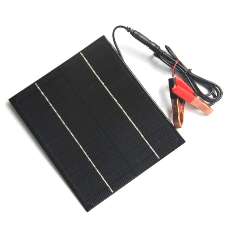 High Quality 6W 12V Mini Solar Panel+5521DC Crocodile Clip Monocrystalline Solar Cells DIY Solar Module For Solar Power System