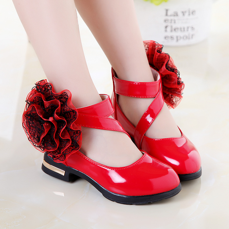 Childrens dress shoes for girls school shoes kids pumps black red pink patent leather flower princess party wedding shoes