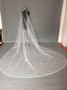 Image 3 - Real Photo White/Ivory Two Layer Wedding Veil 3m Ribbon Edge Mantilla Bridal Veil Of Bride Wedding Accessories Veu De Noiva 45
