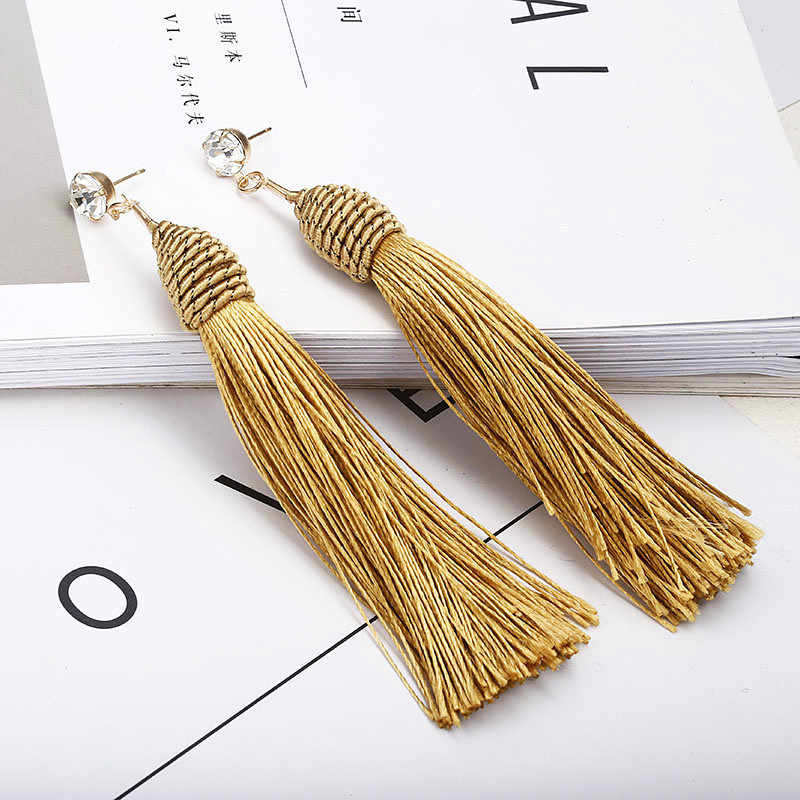 New Bohemian Gold Color Tassel Long Earrings brinco many colors Silk Hanging Earrings For Women Jewelry Dangle Earring A51