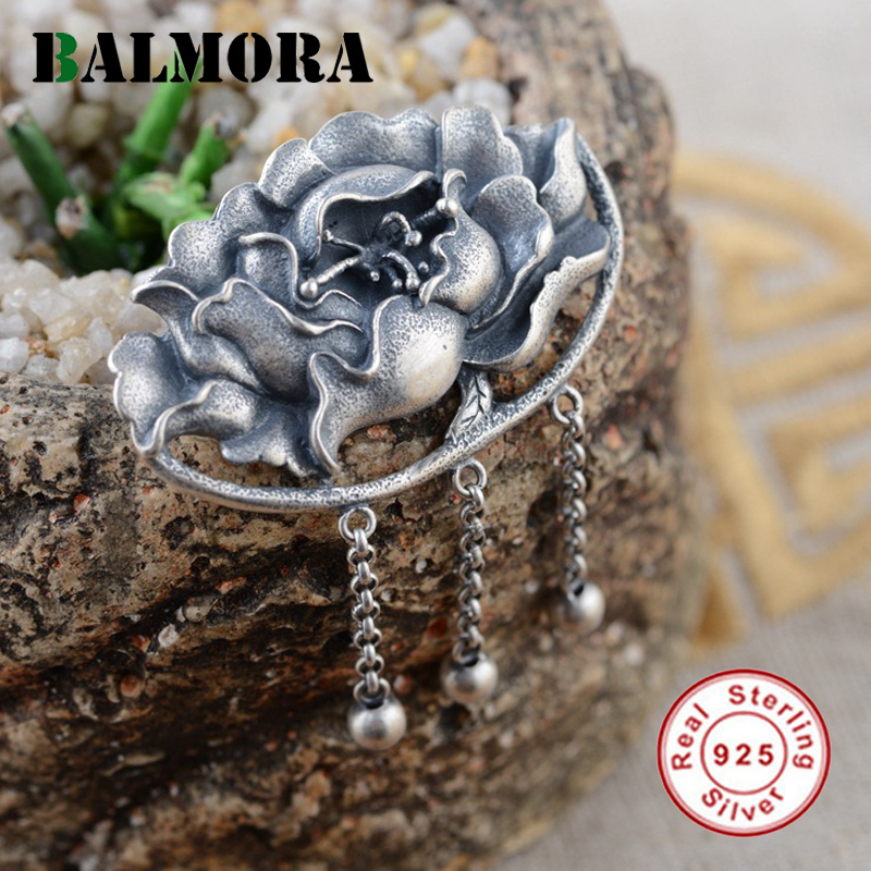 BALMORA Authentic 925 Sterling Silver Vintage Peony Flower Pendants Women Accessories Gifts Thai Silver Pendant Jewelry SY12325BALMORA Authentic 925 Sterling Silver Vintage Peony Flower Pendants Women Accessories Gifts Thai Silver Pendant Jewelry SY12325