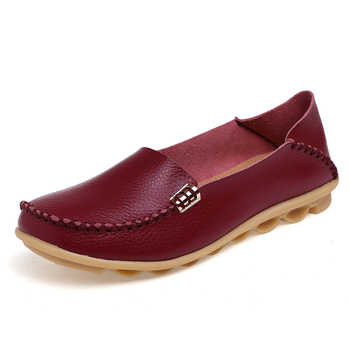 KUIDFAR 2018 Fashion Genuine Leather Women Flats Shoes Female Casual Flat Women Loafers 16 color Moccasin Women\'s Shoes
