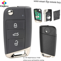 KEYECU Semi smart Flip Remote Car Key With 3 Buttons& 434MHz & ID48 Chip FOB for Volkswagen Golf VII G*TI for Skoda Octavia A7