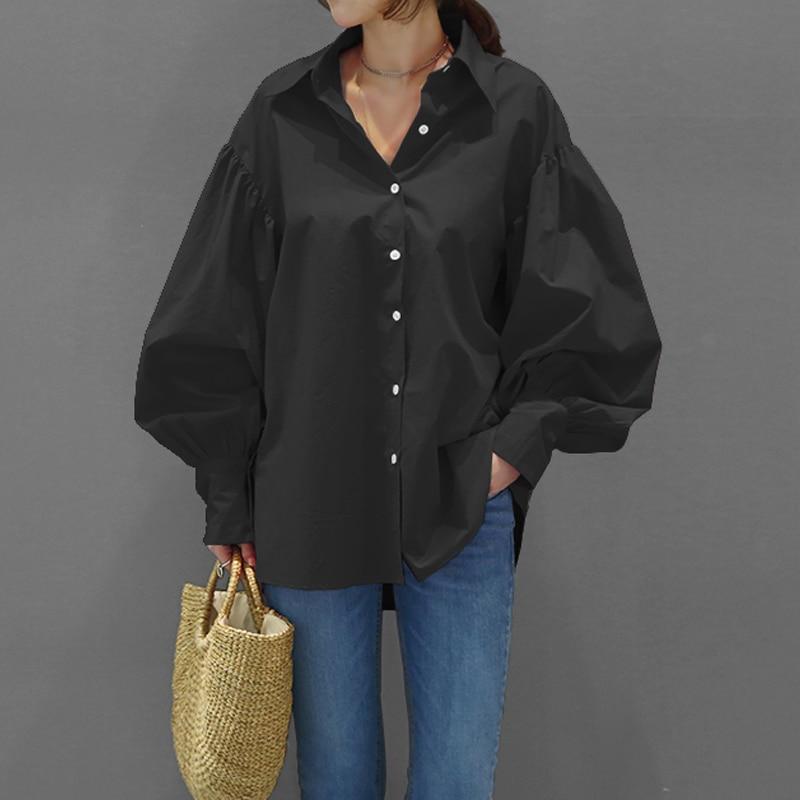 LANMREM 2019 Summer New Fashion Casual Women Loose Lantern Long Sleeve Lapel Solid Color Top TC173