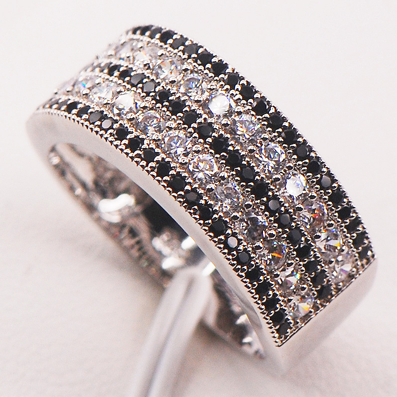 Black Crystal Zircon White Crystal Zircon 925 Sterling Silver Woman Ring Size 5 6 7 8 9  ...