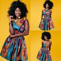 アフリカのドレスデザインファッションデジタル印刷数摩耗ストラップレスネックで常に変化する代替