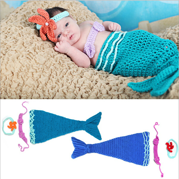 3 Pieces Blue New Born Ariel Little Mermaid Crochet Baby Outfit