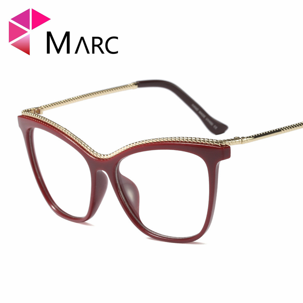MARC WOMEN 2018NEW Optical fashion Plastic Black Plain classic glass Alloy spectacles Cat Transparent clear Glasses Frame 97545 in Women 39 s Eyewear Frames from Apparel Accessories