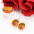Lucky Mall 2017 Best Seller Jewelry Set Shiny Brazil Citrine Earring/Ring Best Holiday Gift Bijoux