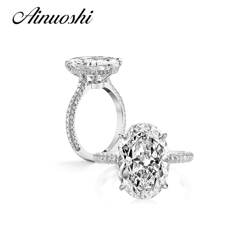 AINUOSHI Luxury 3 Carat Oval SONA Engagement Rings 925 Sterling Silver Rings for Women Wedding Anniversary Rings Bridal Jewelry