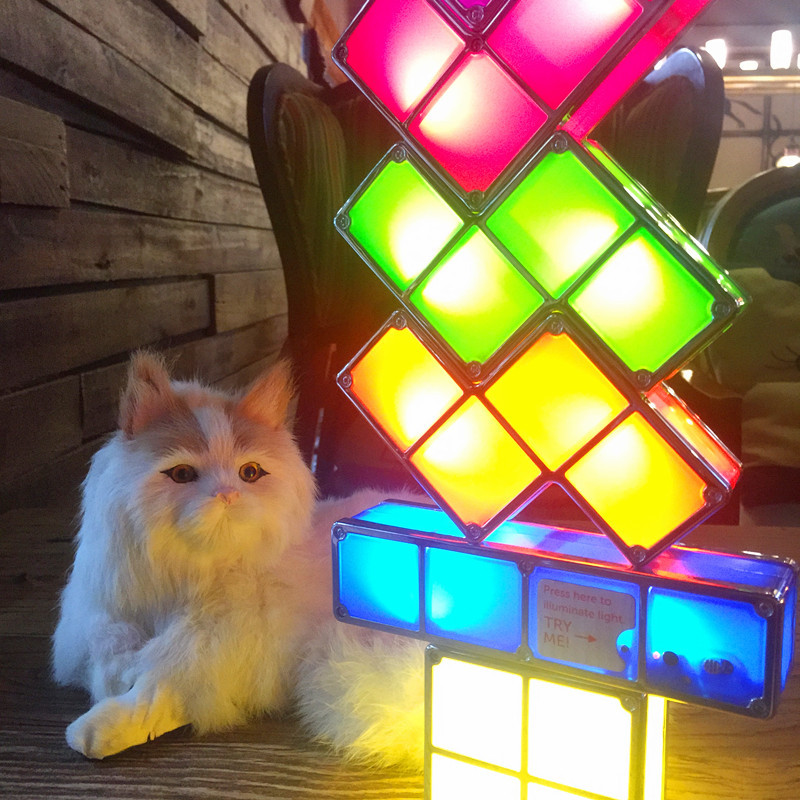 [DBF]DIY Tetris Puzzle Novelty LED Night Light Stackable LED Desk Table Lamp Constructible Block Kids Toy's Light Christmas Gift цены