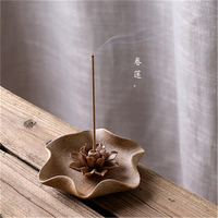 All Handmade Coarse Pottery Delicate Ceramic Lotus Candle Holder Plate Incense Holder Fragrance Humidifier Incense Stick