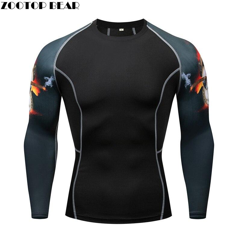 3D T Shirt Long Sleeve Sport Shirt Men Crossfit Compression Tights Men's Running T-shirts Gym Dry Fit Rashgard MMA Gym Clothes