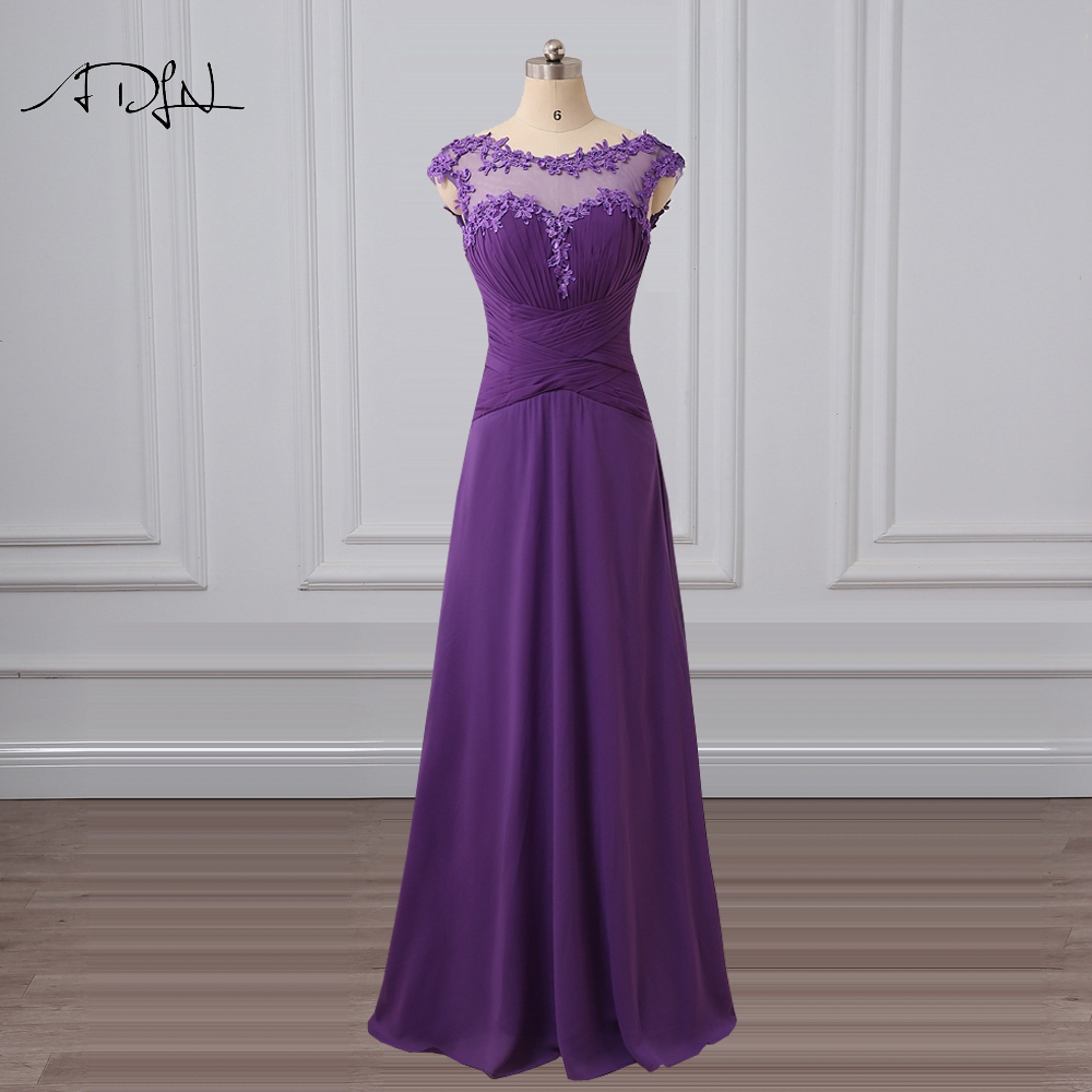 ADLN Scoop Purple Bridesmaid Dress With Appliques Chiffon