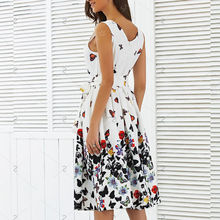 Butterfly Floral Vintage Pleat Swing Dresses